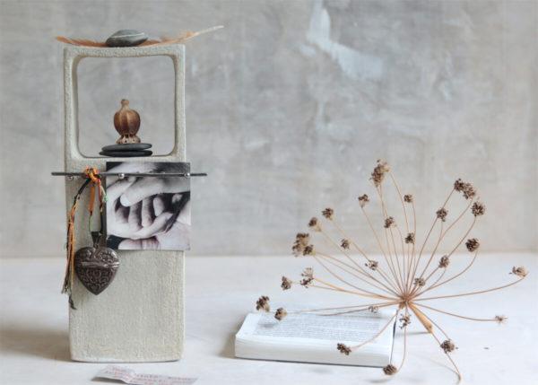 Little altar brick, pebble white - Marjoke de Heer Keramiek Atelier